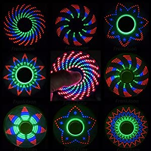 "FIDGET SPINNER - ""The Coolest Fidget Spinner"" with 18 Patterns LED Lights - Anti-stress Hand LED Spinners - Amazing LED Light Up Spinners with Crazy Designs - Finger FIgit Spinner Toys"