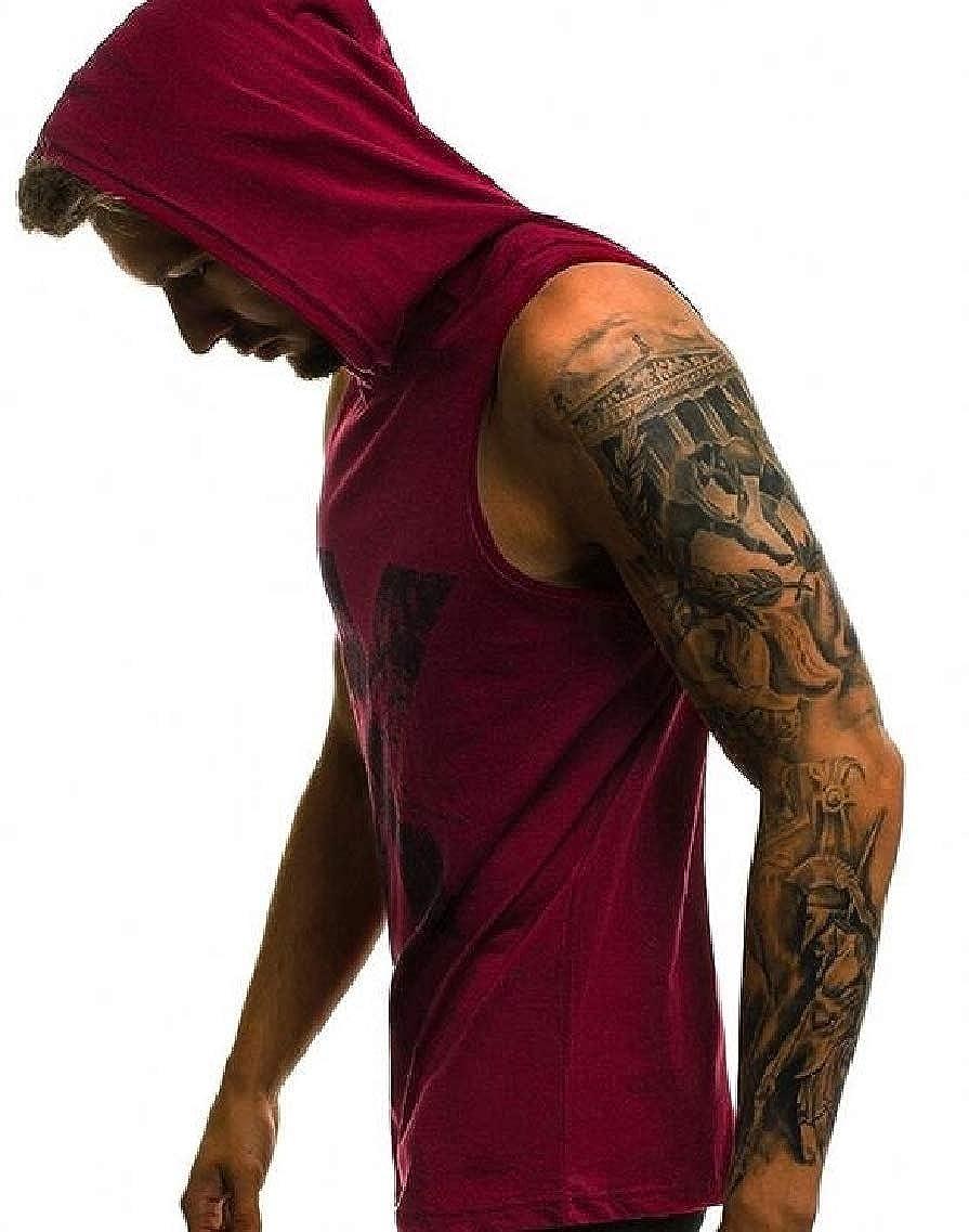 Fubotevic Mens Sleeveless Hoodie Active Print Basic Sportwear Tank Tops