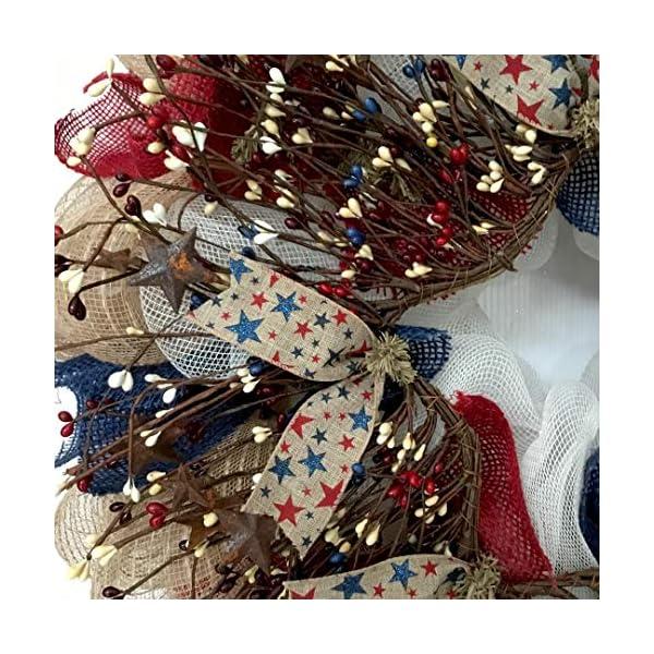 Patriotic-Americana-Pip-Twig-Berry-Wreath-Handmade-Deco-Mesh