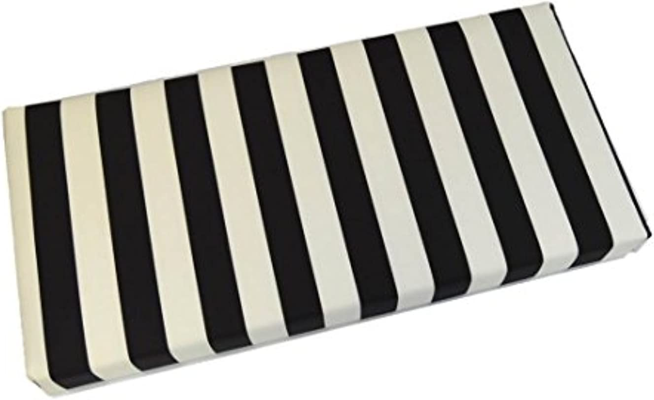 Resort Spa Home Decor Black and White Stripe 3 Thick Foam Swing Bench Glider Cushion with Ties and Zipper – Indoor Outdoor Fabric – Choose Size