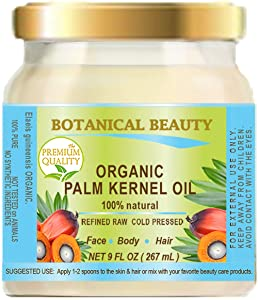 ORGANIC PALM KERNEL OIL Pure Cold Pressed. 9 Fl.oz - 267 ml. Palm Kernel Oil for soap making for Skin, Hair, Lip and Nail Care by Botanical Beauty