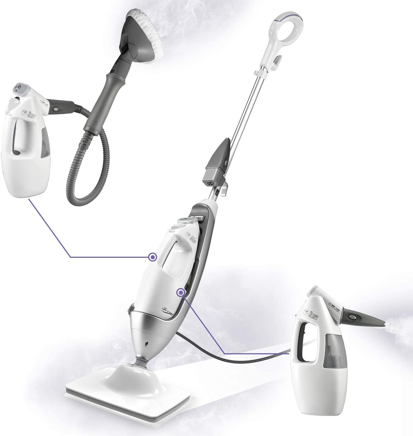 LIGHT AND EASY Multifunctional Steam Mop with Detachable Handheld Unit Floor Steamers Cleaner for Hardwood,Grout
