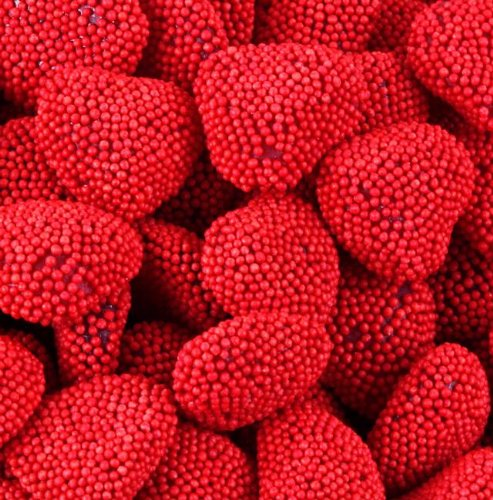 Oh! Nuts Red Raspberry Gummy Hearts - 2 Pound Bag of Bulk Jelly Gummie Valentine Nonpareils Gummies Love Belly Treats - (Raspberry Hearts)