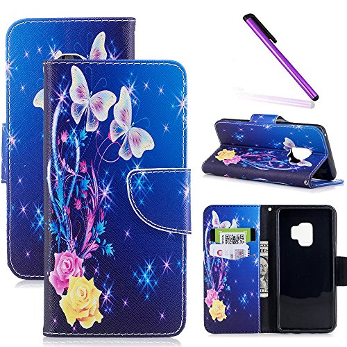 Butterfly Floral Wallet - Galaxy S9 Case, S9 Case LEECOCO Fancy Print Floral Wallet Case with Card/Cash Slots [Kickstand] PU Leather Folio Flip Protective Case Cover for Samsung Galaxy S9 (2018) Pink Butterfly BF