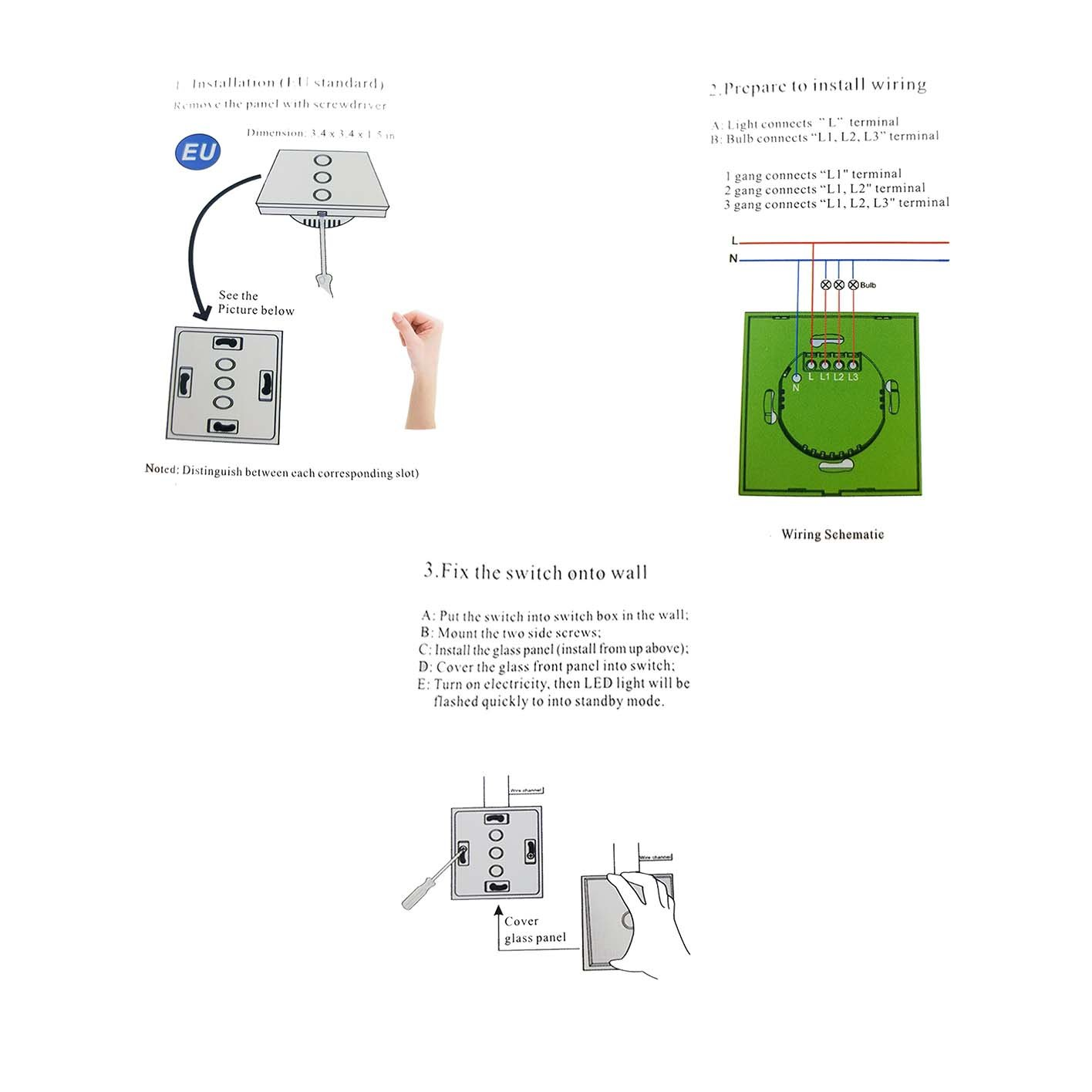 Wifi Wall Switch Alexa Touch Victotstar 2 Gang Wiring A Box Work With Amazon Ios Or Android App Tempered Glass Screen