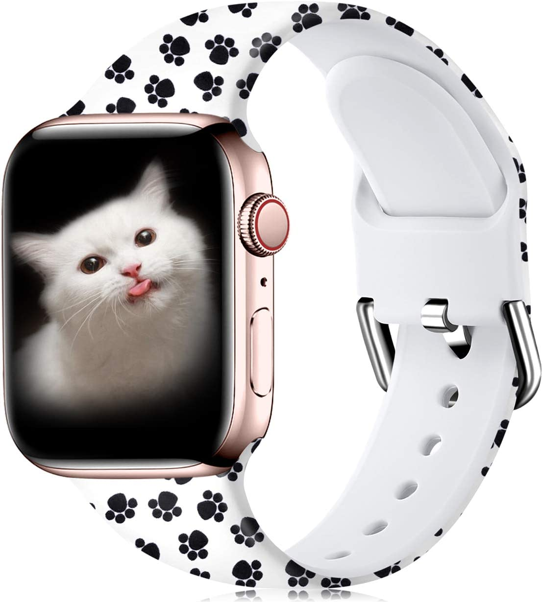 Wepro Compatible with Apple Watch Band 42mm 44mm iWatch SE & Series 6, Series 3, Series 5 4 2 1 for Women, Fadeless Floral Pattern Printed Silicone Wrist Bands Replacement, Paw, S/M