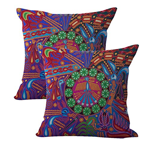 set of 2 Mexican Huichol Indian art print cushion cover pillow throw covers by WholesaleSarong