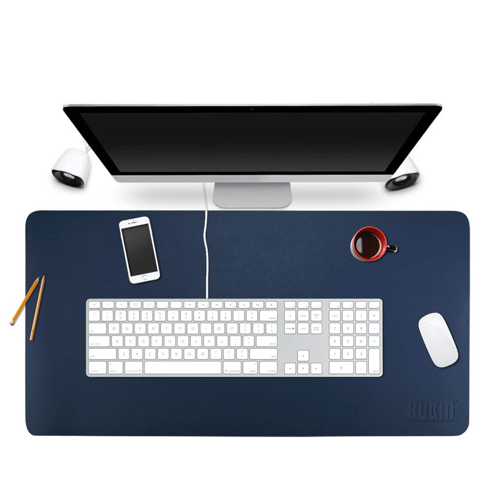BUBM Desk Pad Protector 35'' x 18'', PU Leather Desk Mat Blotters Organizer with Comfortable Writing Surface(Dark Blue) by BUBM