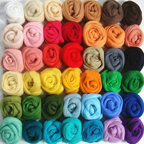 Peicees 37 Colors Wool Roving  Fibre Wool Yarn Roving For Needle Felting Hand Spinning DIY by Peicees