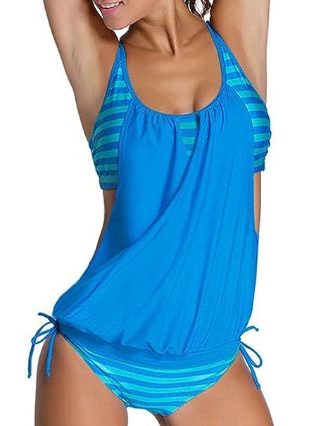 938210cf66a9 Imbry Damen Bikini Set Streifen zweiteilig Schwimmanzug Bademode Strand  Bikini Oberteile + Höschen Tankini (S