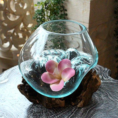 【アジアン雑貨】 ガラスと流木のオブジェ 花器 テラリウム リゾート インテリア B01I9FF6S8