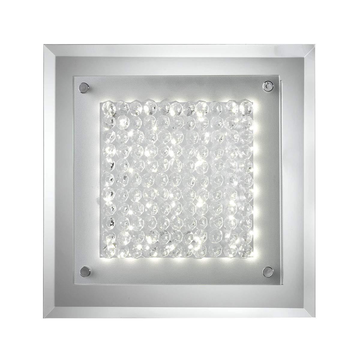 a5b36d5ac6 Vetro e Cristalli Cromato ONLI Plafoniera LED Integrato 18W 4000K Moderna  con Base a Specchio Stefi ...