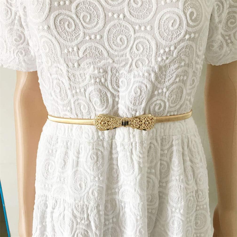 LJSLYJ Women Bow Buckle Belts Dress Stretch Elastic Waist Belt Clothing Accessories