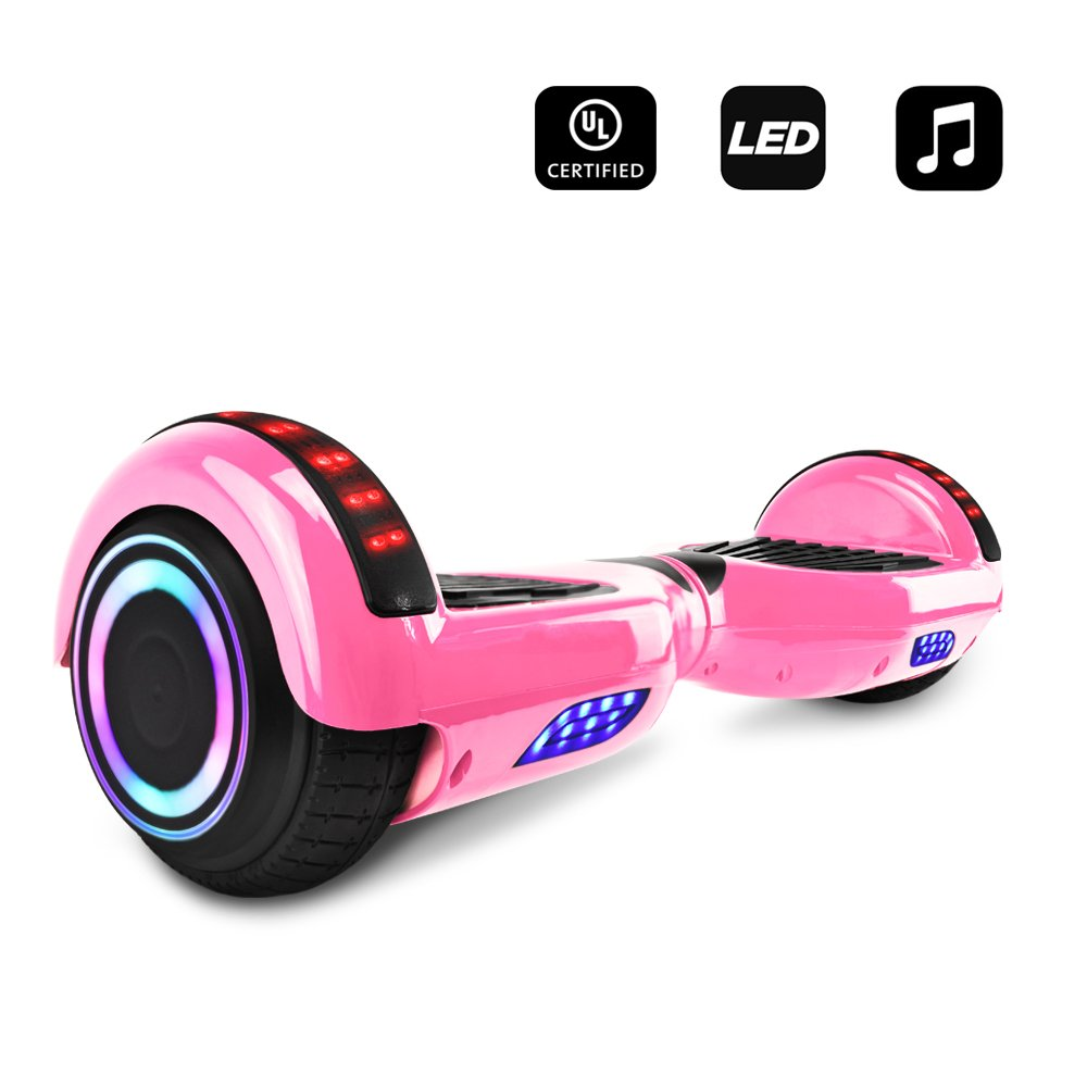 CHO Electric Smart Self Balancing Scooter Hoverboard Built-in LED Wheels Side Lights- UL2272 Certified (Pink (No Bluetooth))