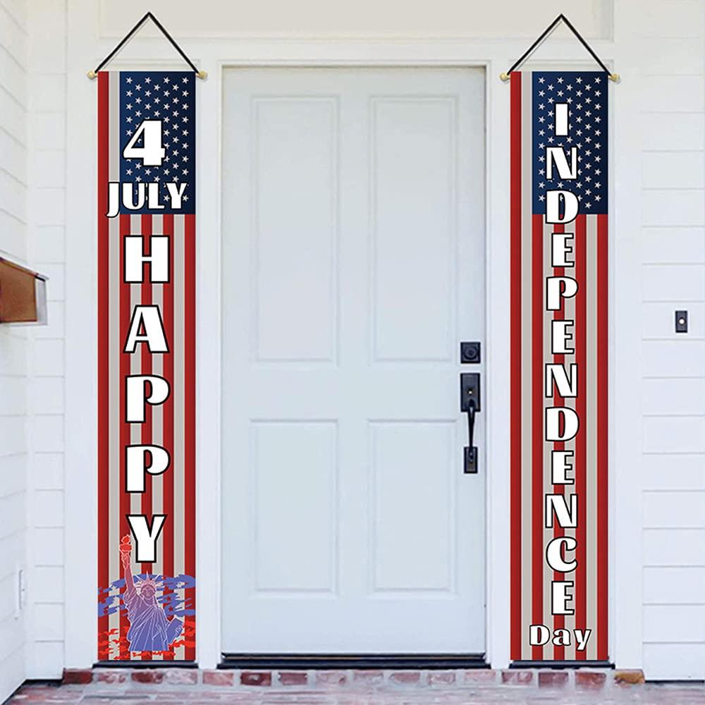 Yarosy Independence Day luxury door decoration hanging banner, porch logo, outdoor / indoor home front door decoration