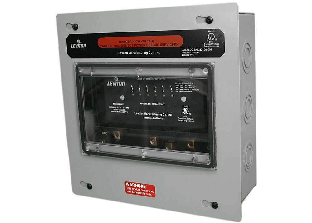Amazon.com: Leviton 37120-7 120/208 Volt 3-Phase Wye Surge Panel, 7 ...
