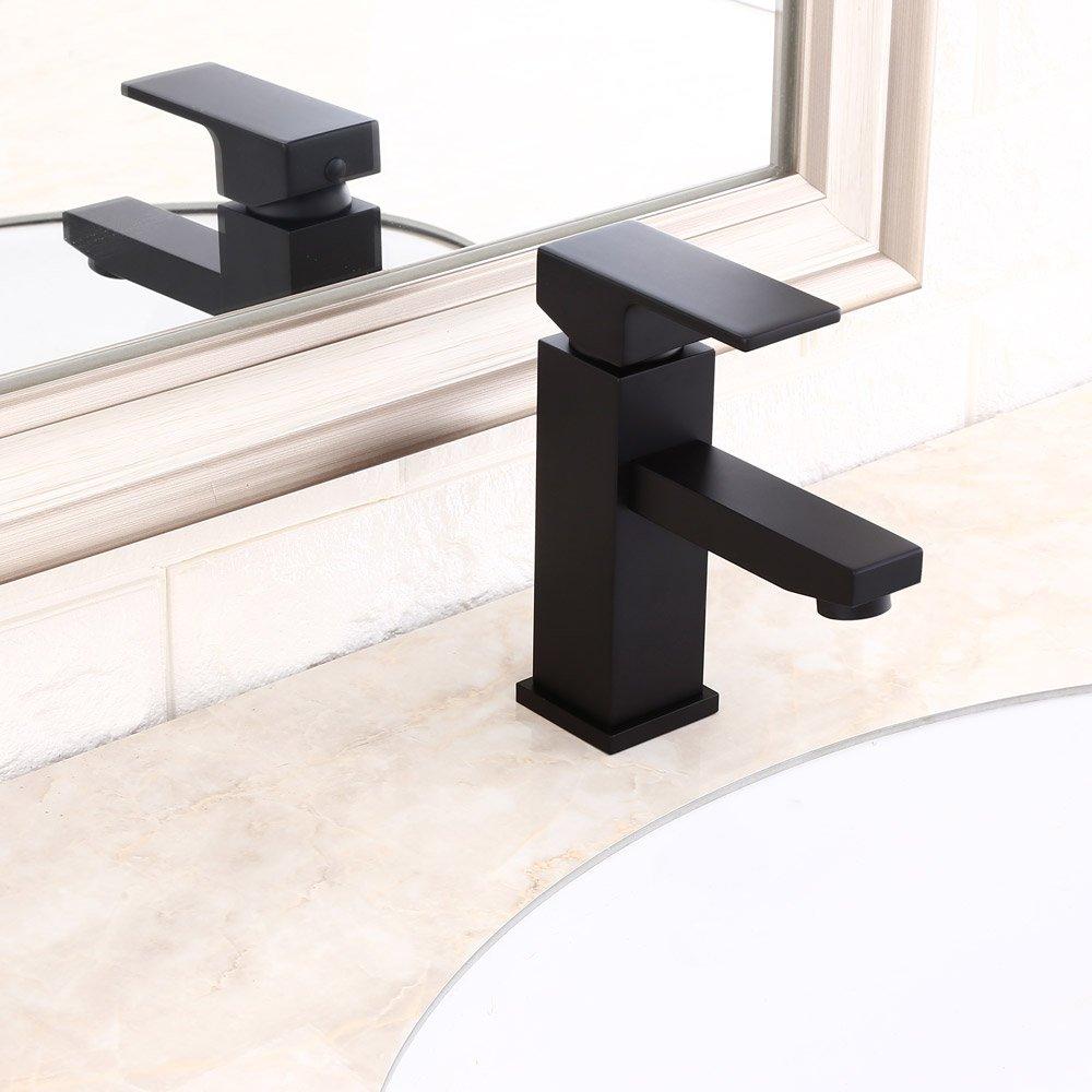 Kunmai moderne laiton Poigné e simple robinet mitigeur de lavabo de salle de bain monobloc en solide Noir