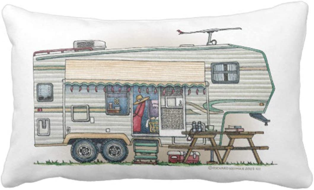 Jidmerrnm Cute Rv Vintage Fifth Wheel Camper Travel Trailer Pillows Personalized 18x18 Inch Square Cotton Throw Pillow Case Decor Cushion Covers