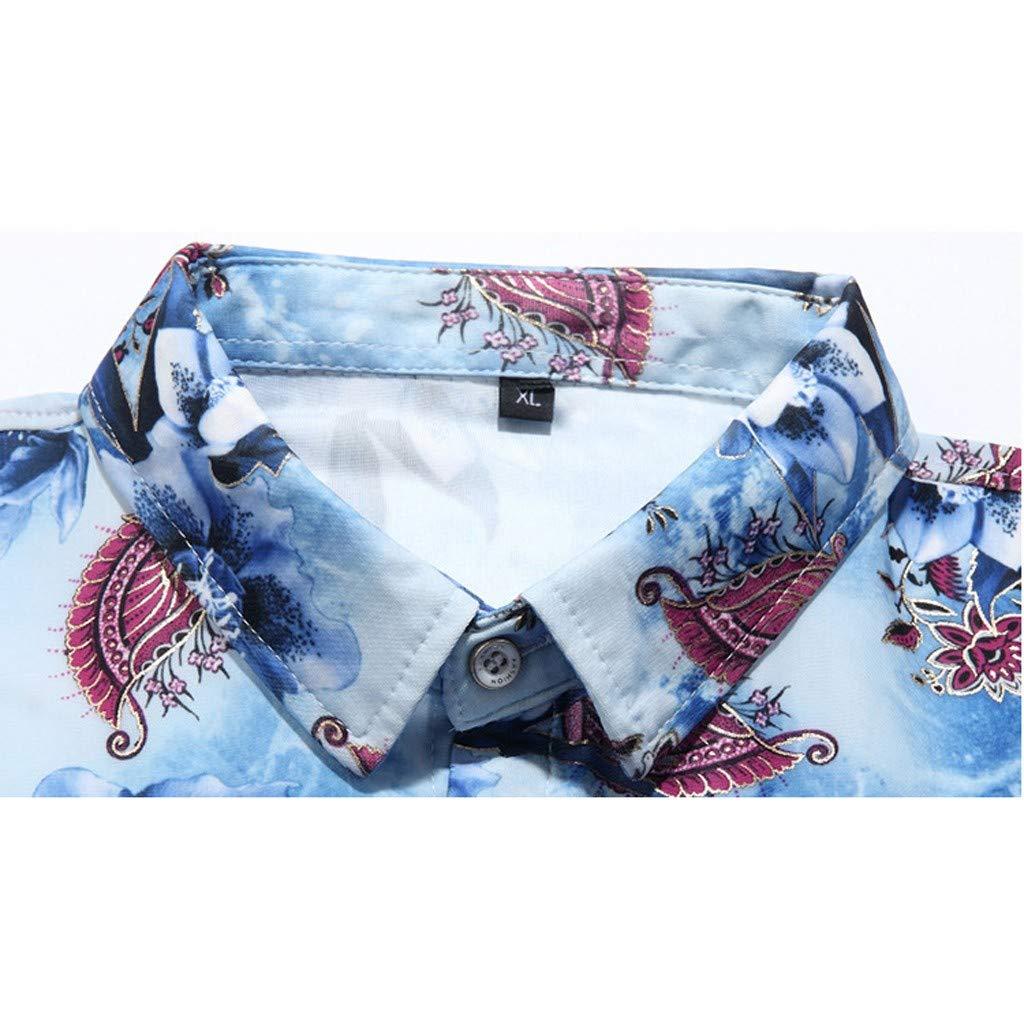 Flower Print T Shirt Men Donci Fashion Lapel Buttons New Tees Casual Vacation Beach Summer Short Sleeve Tops