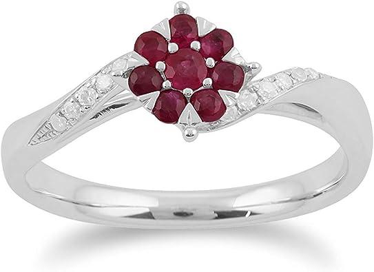 bague diamant rubis fleur
