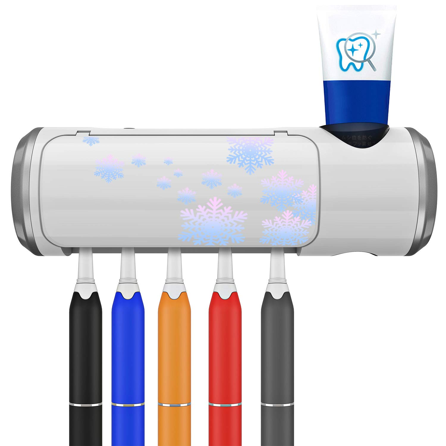 KALDOREI UV Toothbrush Sterilizer Holder, Wall Mounted Automatic Toothpaste Dispenser with 5 Toothbrush Holder and Drying Function