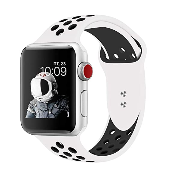 f30660f230d PINHEN Compatible for Apple Watch Bands 42 44mm - Soft Silicone Replacement  Wristband with Breathable