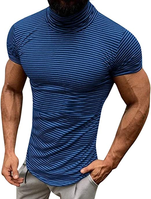 T-Shirt for Men Camouflage Print Short Sleeve Pullover Summer Casual Elastic Slim Fit Sport Tops