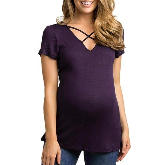 Amphia Premama Lactancia Vestido, Tops de Maternidad para Mujer Cross Tops Embarazo Ropa Top Blusa Camisa: Amazon.es: Ropa y accesorios
