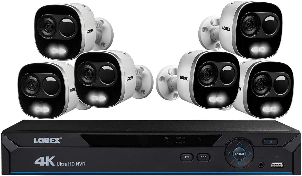 Lorex 4K Ultra HD Security System, HD Active Deterrence Wired Security Cameras w Long Range Color Night Vision 6 Pack - Includes 8-Channel NVR w 2 TB Storage Hard Drive