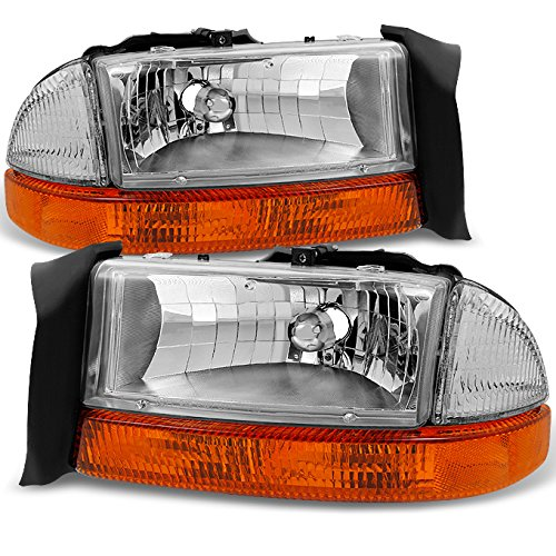 Fits 1997-2004 Dodge Dakota | 98-03 Durango Chrome Driver Left + Passenger Right Side Headlights +Signal Lamp Pair Set ()