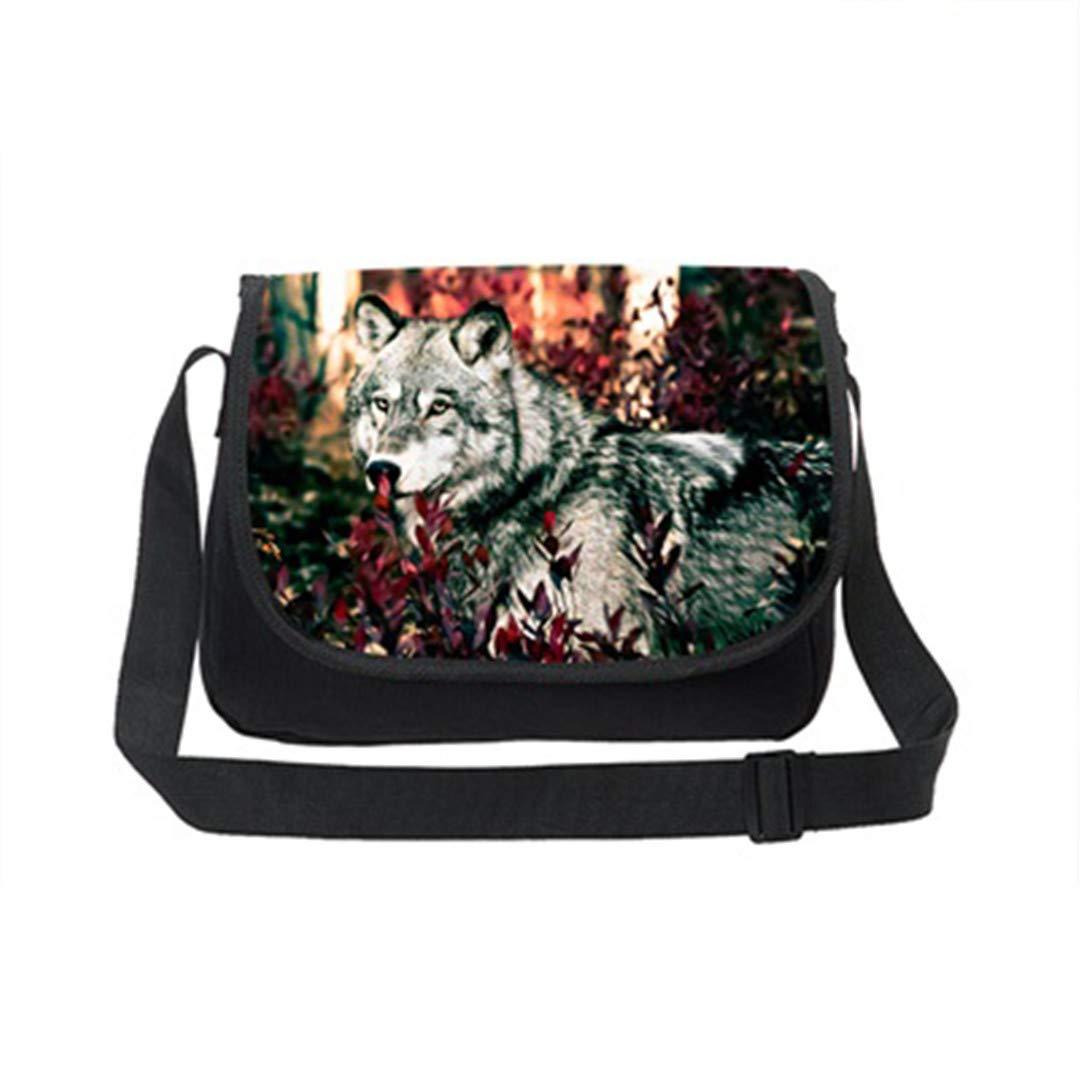 Canvas Messenger Bags Mens Crossbody Bag Animal Cool Wolf Print Teenager School Laptop Shoulder Bag Casual Travel Bag K263