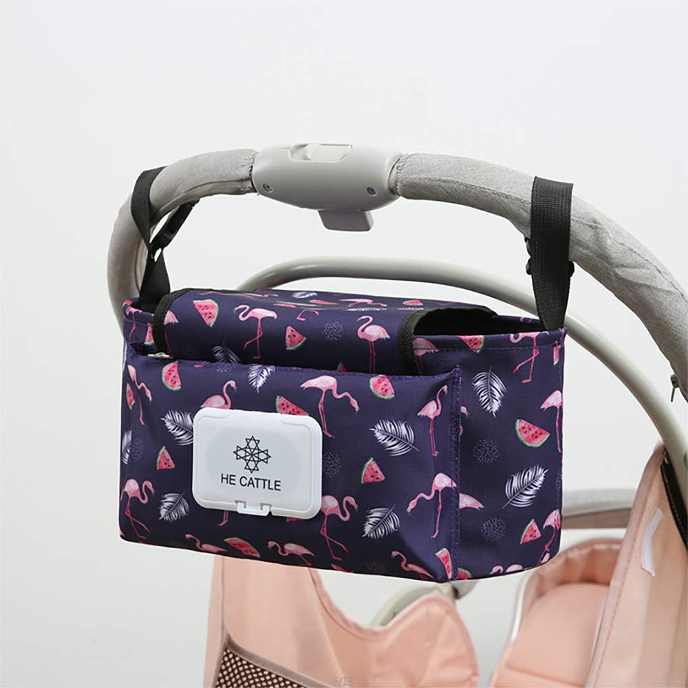 Beb/é Bolsa de Almacenamiento de Pa/ñales Bolsos Carro Beb/é Universal con Correa Para el Hombro y Engancha de Cochecito Ganchos Flamingo Bolsas Paseo Organizador de Cochecito