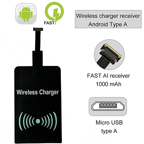 Wireless Charger Receiver, Wisfruit Ultra Slim Micro USB Qi Wireless Charging Receiver Module Patch for