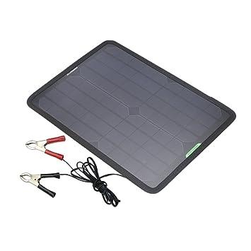 ALLPOWERS 18v 12v 10W Cargador Batería Mantenedor Panel Solar con Enchufe Cigarrillo, Línea Clip, Copas Succión y el Manual para Automóvil, ...