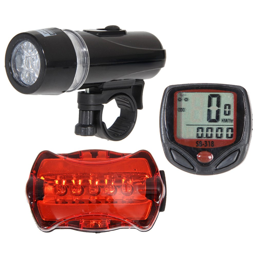 WinnerEco Bicycle Speedometer, 5 LED Mountain Bike Cycling Light Head Rear Lamp Set