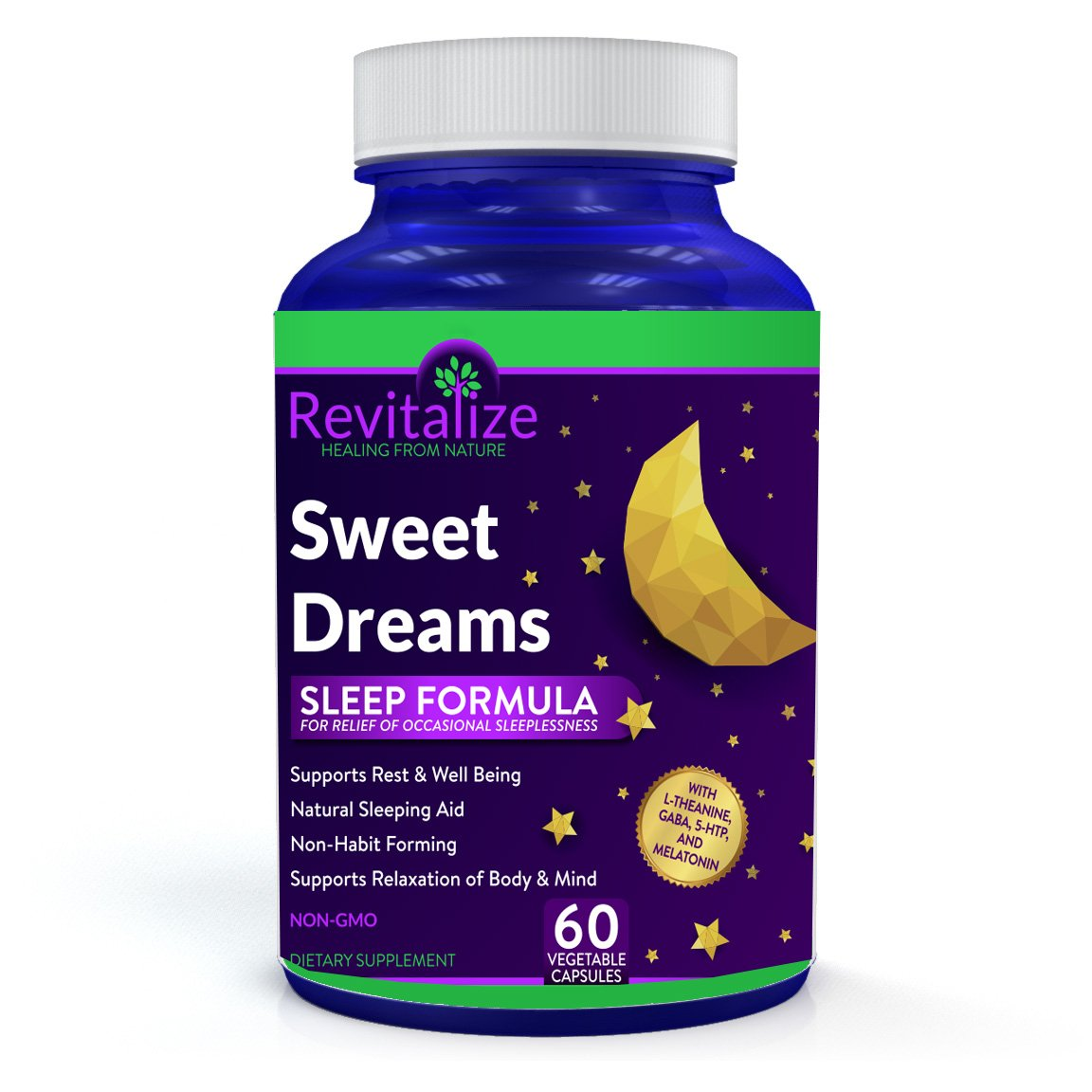 GABA, 5-HTP, Melatonin, Magnesium, L-Theanine - Sleep Good Tonight with Sweet Dreams by Dr. Valerie Nelson - All Natural