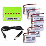 [UPGRADED] Morpilot 6 Pcs 3.7V 720mAh 20C Lipo Battery Molex Plug+6 Port Battery charger for Syma X5 X5C X5SW X5C-1 X5SW Cheerson CX-30W UDI U45 RC Quadcopter
