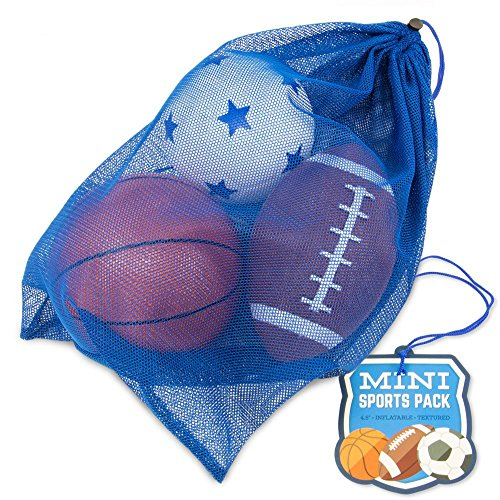 K-Roo Sports Mini Sports Pack: Inflatable Football, Soccer Ball, and Basketball in a Mini Mesh Coaches Bag Football Bouncy Balls