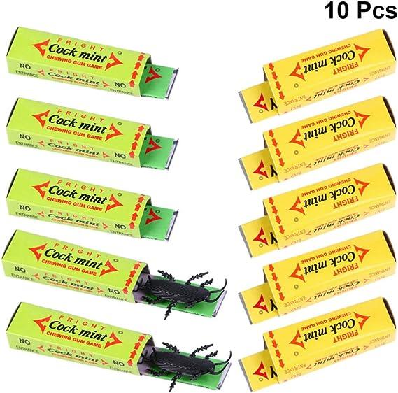Amosfun Broma de Goma de cucaracha Chicle Prop Broma de Halloween Juguetes de Goma de cucaracha Color Color Aleatorio 10 Piezas: Amazon.es: Juguetes y juegos