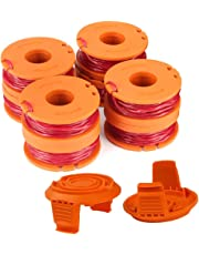 "WA0010 Replacement Trimmer Spool Line 0.065"" for Worx WG154 WG163 WG160 WG180 WG175 WG155 WG151 String Trimmer Weed Eater (8 Spools, 2 Caps) by TOPEMAI"