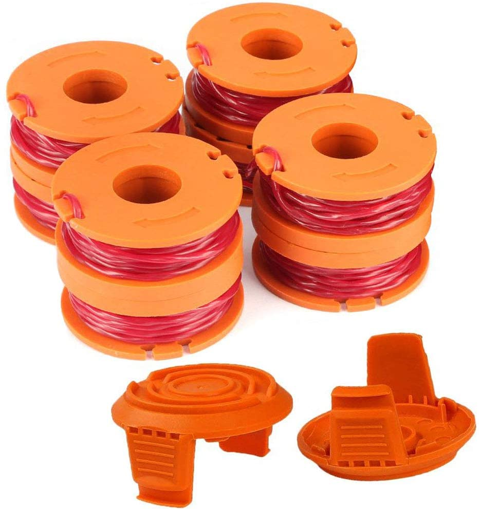 """TOPEMAI WA0010 Replacement Trimmer Spool Line 0.065"""" for Worx WG154 WG163 WG160 WG180 WG175 WG155 WG151 String Trimmer Weed Eater (8 Spools, 2 Caps) : Garden & Outdoor"""