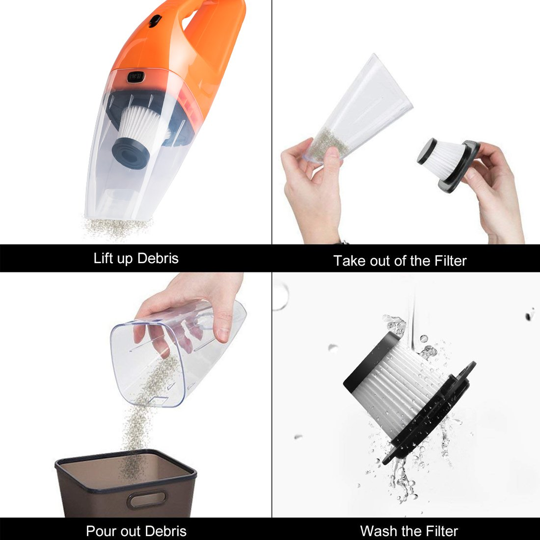 Car Vacuum Cleaner DC 12V Wet Dry Auto Dustbuster Portable Handheld Auto Vacuum Cleaner for Car 4000Pa Suction 120W Car Hoover with HEAP Filter & 5 Meters/16.4 FT Power Cord(1 Yr Warranty) Orange by candyfouse (Image #7)