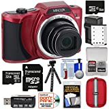 Minolta MN22Z 1080p 22x Zoom Wi-Fi Digital Camera (Red) with 8GB & 32GB Cards + Battery & Charger + Case + Tripod Kit
