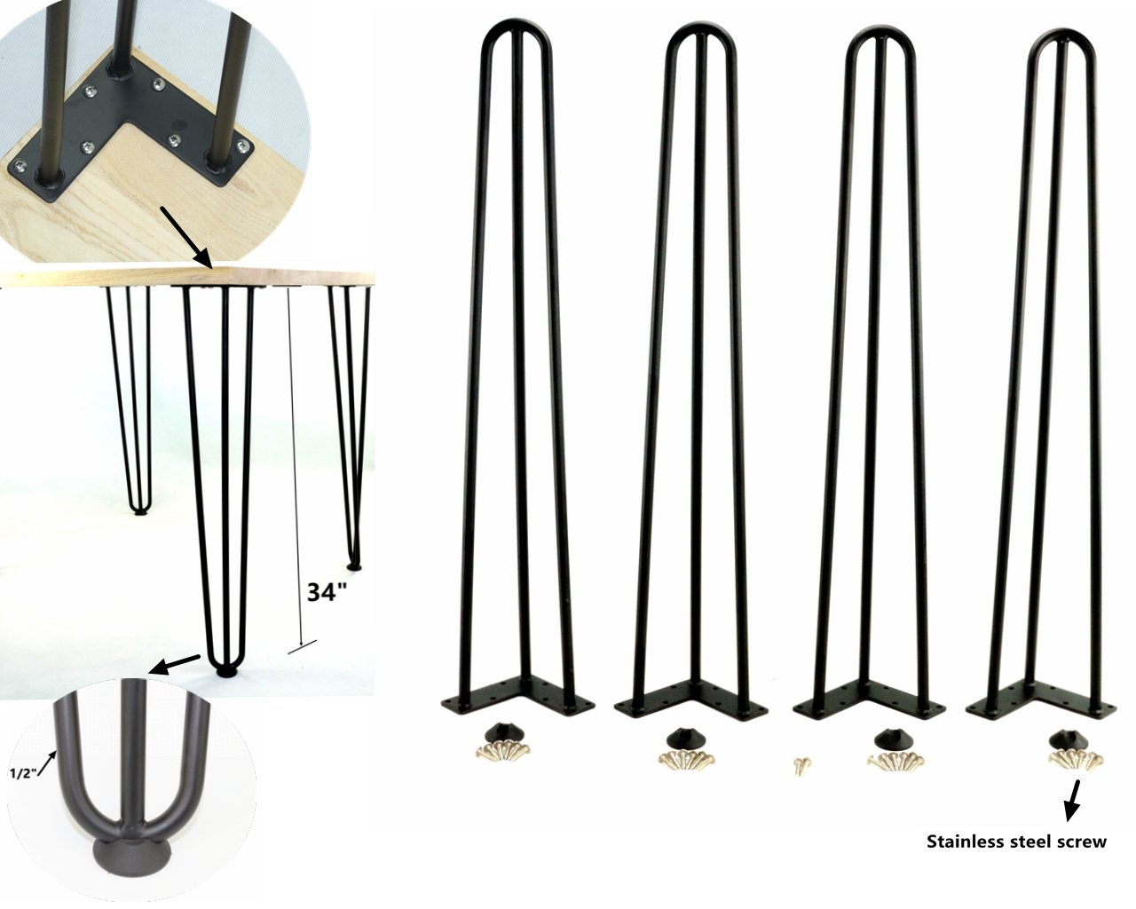 Heavy Duty Satin Steel Rods for Industrial Design Look Hairpin Table Legs 14 inch-2Rod-1//2 in, Black HKYM Set of 4