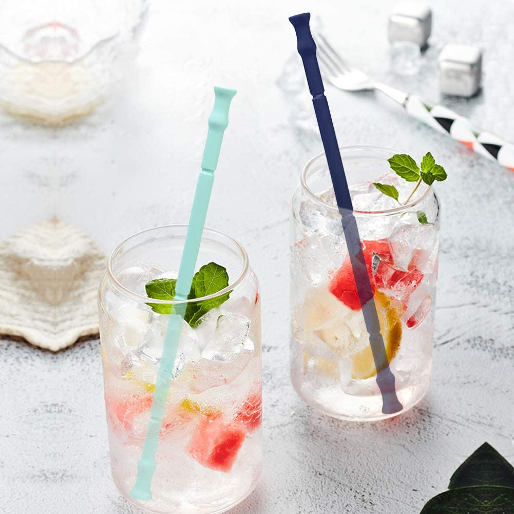 Collapsibles Travel Straws Dishwasher Friendly Flexible Cleaning Brush Reusable Straws Silicone Straws with Case 2-PCS Bendable Straws Drinking Juice Coffee Aosbos Suitable 30oz 20oz Tumblers