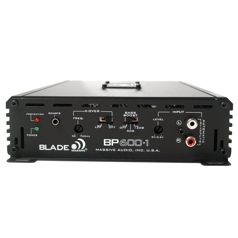 Massive Audio BP1200.1 Blade Series 1 Ohm Stable Class D Monoblock Car Amplifier with Bass Boost. 1200 Watts