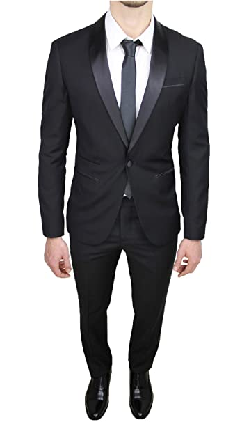 Abito Completo Uomo Sartoriale Raso Nero Lucido Vestito Smoking Slim Fit  Aderente  Amazon.it  Abbigliamento 9ac253951029