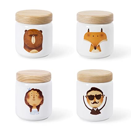 Delicieux Lotus Blue Cartoon Pattern Storage Jars With Wooden Lid Airtight Sealed Ceramic  Jars For Food Storage