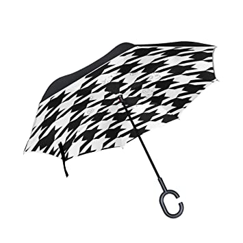 Amazon.com: Paraguas reversible plegable, negro y blanco ...