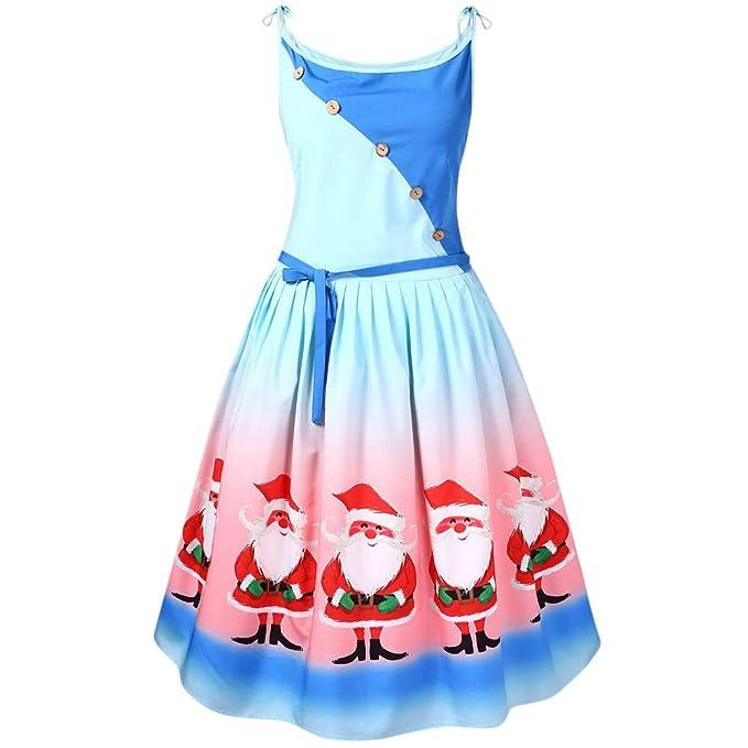 Lenfesh_Vestidos de Fiesta sin Mangas Vestidos Sin Mangas de Navidad Vintage Vestir Vestido Talla Grande de Navidad para Mujer L-5XL: Amazon.es: Ropa y ...